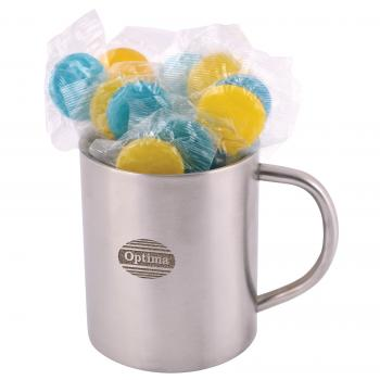 Corporate Colour Lollipops in Double Wall Stainless Steel Barrel Mug